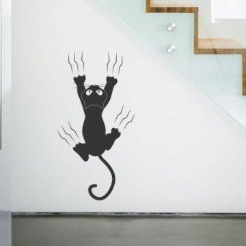 Stenska nalepka - mačka praska