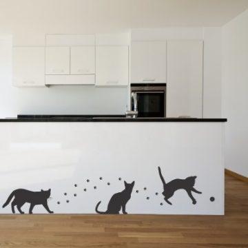 Stenska nalepka - mačke in stopinje